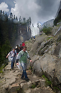 Hikers on the Mist Trail below Vernal Fall, Grand Staircase of the Merced River, above Yosemite Valley, Yosemite National Park, California