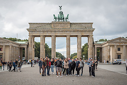 16 September 2021, Berlin, Germany: Guided tour at the historical site of Brandenburger Tor in Berlin.
