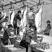 One of the earliest production lines:  Armour Company's pig slaughterhouse, Chicago. Pigs walked up ramp to top of building, then were processed & emerged as finished carcasses. Eviscerating carcasses. Wood engraving Paris 1892.