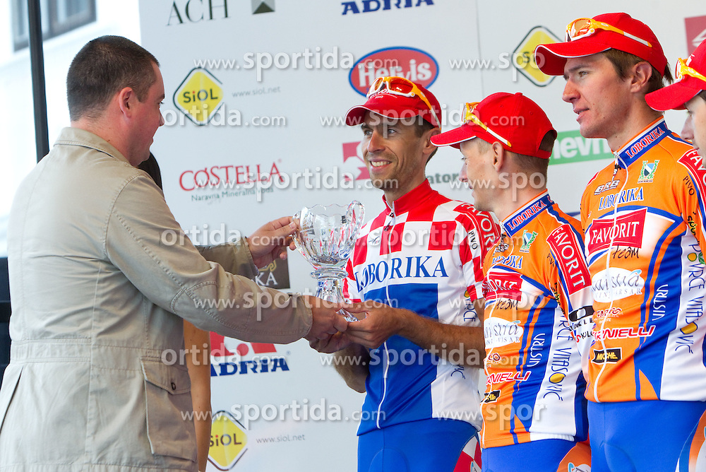 Rudolf Skobe of Najdi d.o.o. and best team Loborika at flower ceremony after the 4th Stage  between Ptuj and Novo mesto (181 km) at 18th Tour de Slovenie 2011, on June 19, 2011, in Novo mesto, Slovenia. (Photo by Vid Ponikvar / Sportida)