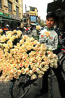 Rose Vendor - One of the most endearing images of Hanoi is that of its ubiquitous vendors peddling bushels of fresh roses and other items from the back of a bicycle or baskets balanced on bamboo shoulder poles, fresh fruit or flowers are popular items for Hanoi vendors.