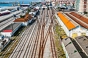 The train station and port in the Mondego River at Figueira da Foz, Portugal