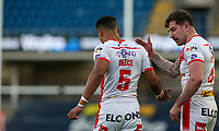 St Helens' Regan Grace celebrates scoring his side's first try<br /> <br /> Photographer Alex Dodd/CameraSport<br /> <br /> Rugby League - Betfred Challenge Cup Quarter Finals - St Helens v Huddersfield Giants - Friday 7th May 2021 - Emerald Headingley Stadium - Leeds<br /> <br /> World Copyright © 2021 CameraSport. All rights reserved. 43 Linden Ave. Countesthorpe. Leicester. England. LE8 5PG - Tel: +44 (0 116 277 4147 - admin@camerasport.com - www.camerasport.com