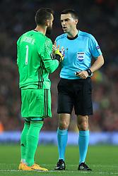 11th May 2017 - UEFA Europa League - Semi Final (2nd Leg) - Manchester United v Celta Vigo - Referee Ovidiu Hategan speaks to Celta Vigo goalkeeper Sergio Alvarez - Photo: Simon Stacpoole / Offside.