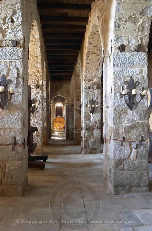 Wine cellar. The Tsantalis sponsored monastery. Mount Athos. Tsantali Vineyards & Winery, Halkidiki, Macedonia, Greece. Metoxi Chromitsa of St Panteleimon monastery.