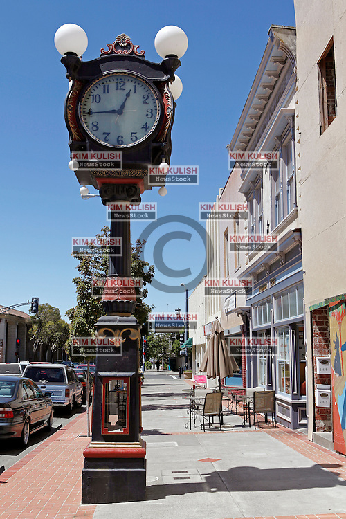 """View of the historic """"Alibi Clock"""" on  Georgia Street in downtown Vallejo, California. The city of Vallejo, California filed for bankruptcy protection in 2008 in attempt to deal with a ballooning budget deficit caused by soaring employee costs and declining tax revenue."""