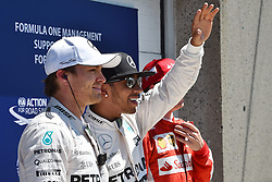 06.06.2015, Circuit Gilles Villeneuve, Montreal, CAN, FIA, Formel 1, Grand Prix von Kanada, Qualifying, im Bild (L to R): Nico Rosberg (GER) Mercedes AMG F1, pole sitter Lewis Hamilton (GBR) Mercedes AMG F1 and Kimi Raikkonen (FIN) Ferrari celebrate in Parc Ferme // during Qualifyings of the Canadian Formula One Grand Prix at the Circuit Gilles Villeneuve in Montreal, Canada on 2015/06/06. EXPA Pictures © 2015, PhotoCredit: EXPA/ Sutton Images/ Mark<br /> <br /> *****ATTENTION - for AUT, SLO, CRO, SRB, BIH, MAZ only*****