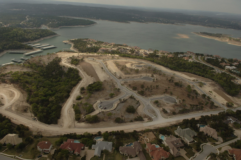 Austin, TX  April, 2006:  New subdivision of luxury homes planned on the shores of Lake Travis about 20 miles west of Austin.