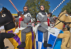 The Renaissance Fair is held each September at the historic museum of El Rancho de Las Golondrinas near Santa Fe and features dancers, kinghts, acrobats and many other performers all celebrating the culture and life style of the Medieval Middle Ages. Performes from Cornisa 20 Mariachi Clowns perform as knights.