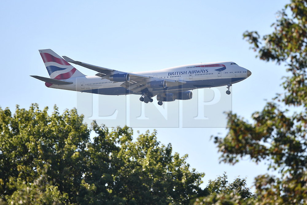 "© Licensed to London News Pictures. 23/08/2016. London, UK. Members of the Great Britain Olympic team land at London Heathrow Airport on British Airways flight BA2016, decorated with a gold nose and the name ""victoRIOus"" on its livery. Team GB finished second in the medals table with 67 medals, beating their total of 65 at London 202.  Photo credit: Ben Cawthra/LNP"