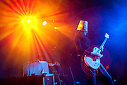 """PRICE CHAMBERS / NEWS&GUIDE<br /> Brian Carroll, better known as Buckethead, plays his brand of heavy, instrumental electro-rock at the Pink Garter Theatre on Monday night. The virtuoso guitarist primarily performs solo but has colaborated with a long list of artists and was a member of Guns N' Roses from 2000-2004. Buckethead's stage persona represents a character who was """"raised by chickens"""" and has made it his """"mission in life to alert the world to the ongoing chicken holocaust in fast-food joints around the globe."""""""