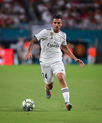 July 31, 2018 - Miami Gardens, Florida, USA - Real Madrid C.F. midfielder Dani Ceballos (24) moves the ball during an International Champions Cup match between Real Madrid C.F. and Manchester United F.C. at the Hard Rock Stadium in Miami Gardens, Florida. Manchester United F.C. won the game 2-1. (Credit Image: © Mario Houben via ZUMA Wire)