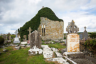 Ivy-covered St. Macreehy's Church and graves, Liscannor, County Clare
