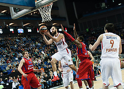 © Licensed to London News Pictures. 10/05/2013. London, UK.  CSKA Moscow (red strip) play and lose to Olympiacos Piraeus (white strip) in Semi-Final A of the Euroleague Basketball Final Four at The O2 Arena.   Olympiacos will play the winner of Semi-Final B in the final on Sunday.  The Turkish Airlines Euroleague, commonly known as the Euroleague, is the highest level tier and most important professional club basketball competition in Europe, with teams from up to 18 different countries, members of FIBA Europe. Photo credit : Richard Isaac/LNP