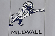 a Millwall crest on The Den Stadium. EFL Skybet football league one match, Millwall v Bradford city at The Den in London on Saturday 3rd September 2016.<br /> pic by John Patrick Fletcher, Andrew Orchard sports photography.