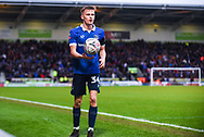 Tom Hamer of Oldham Athletic (34) about to take a throw in during the The FA Cup fourth round match between Doncaster Rovers and Oldham Athletic at the Keepmoat Stadium, Doncaster, England on 26 January 2019.