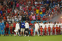 July 31, 2018 - Miami Gardens, FL, USA - Real Madrid and Manchester United players take the field during International Champions Cup action at Hard Rock Stadium in Miami Gardens, Fla., on Tuesday, July 31, 2018. Manchester United won, 2-1. (Credit Image: © David Santiago/TNS via ZUMA Wire)
