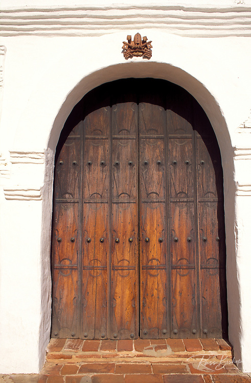 Wooden door at the entrance to Mission San Diego (California's first Mission), San Diego, California