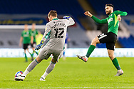 Cardiff City's Goalkeeper Alex Smithies (12) under pressure from Birmingham City's Jon Toral (23) during the EFL Sky Bet Championship match between Cardiff City and Birmingham City at the Cardiff City Stadium, Cardiff, Wales on 16 December 2020.