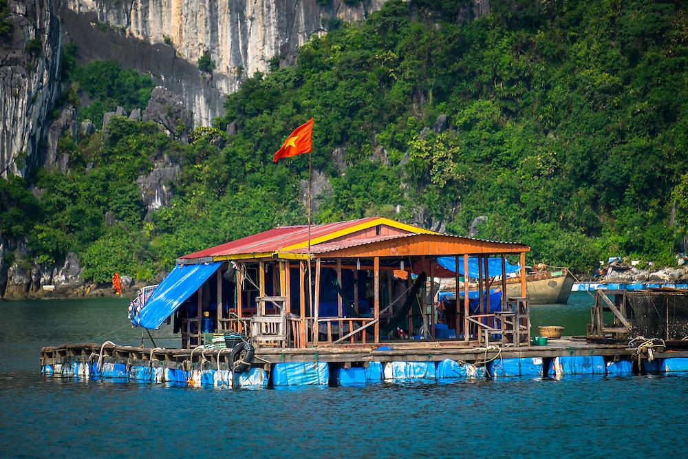 HA LONG BAY, VIETNAM - CIRCA SEPTEMBER 2014: Typical house of fishermen villages in Halong Bay, Vietnam