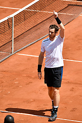 PARIS, June 5, 2017  Andy Murray of Britain celebrates after the men's singles fourth round match against Karen Khachanov of Russia at the French Open Tennis Tournament 2017 in Paris, France, on June 5, 2017. (Credit Image: © Chen Yichen/Xinhua via ZUMA Wire)