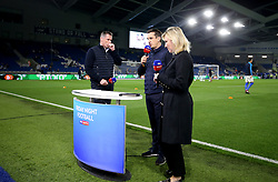 Sky Sports Pundits Jamie Carragher (left), Gary Neville and Kelly Kates commentate on the pre-match action prior to the match kick off