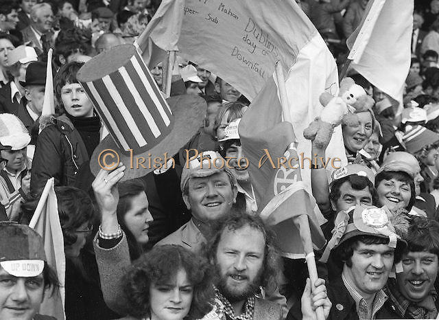Group of spectators during the All Ireland Football Final Dublin v Armagh at Croke Park, 25th September 1977.