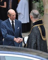 The Duke of Kent leaving the funeral of Countess Mountbatten of Burma at St Paul's Church, Knightsbridge, London.