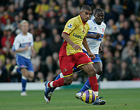 Photo: Marc Atkins.<br />Watford v Middlesbrough. The Barclays Premiership. 04/11/2006.<br />Hameur Bouzza (L) of Watford & Goerge Boateng of Boro in action.