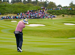 Auchterarder, Scotland, UK. 14 September 2019. Saturday afternoon Fourballs matches  at 2019 Solheim Cup on Centenary Course at Gleneagles. Pictured; Jodi Ewart Shadoff of Team Europe plays approach to the 9th green. Iain Masterton/Alamy Live News