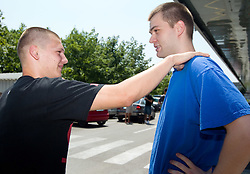 Jaka Klobucar and Uros Slokar of Slovenia Basketball national team at departure to Rogla before World Championship in Turkey, on July 10, 2010 at KZS, Ljubljana, Slovenia. (Photo by Vid Ponikvar / Sportida)