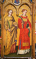 Gothic Altarpiece of  St Estheve and St Agatha, by Pietro da Pisa from liguria, circa 1401-1423, tempera and gold leaf on for wood.  National Museum of Catalan Art, Barcelona, Spain, inv no: MNAC 67192. .<br /> <br /> If you prefer you can also buy from our ALAMY PHOTO LIBRARY  Collection visit : https://www.alamy.com/portfolio/paul-williams-funkystock/gothic-art-antiquities.html  Type -     MANAC    - into the LOWER SEARCH WITHIN GALLERY box. Refine search by adding background colour, place, museum etc<br /> <br /> Visit our MEDIEVAL GOTHIC ART PHOTO COLLECTIONS for more   photos  to download or buy as prints https://funkystock.photoshelter.com/gallery-collection/Medieval-Gothic-Art-Antiquities-Historic-Sites-Pictures-Images-of/C0000gZ8POl_DCqE