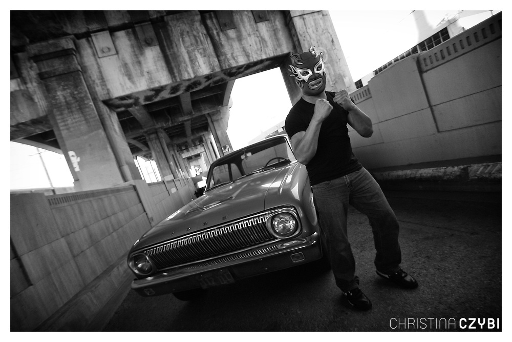 The Streets of Los Angeles: Lucha Libre Fighter posing in Downtown