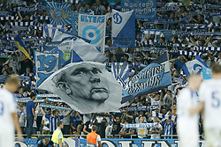fans of Dynamo Kiyv with banner of Valeriy Lobanovskyi during the UEFA Champions League play offs round second leg match between Dynamo Kyiv and Ajax Amsterdam at the NSK Olimpiyskyi on August 28, 2018 in Kyiv, Ukraine