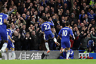 Willian of Chelsea celebrates after scoring his sides 2nd goal to make it 2-1. The Emirates FA Cup, 5th round match, Chelsea v Manchester city at Stamford Bridge in London on Sunday 21st Feb 2016.<br /> pic by John Patrick Fletcher, Andrew Orchard sports photography.