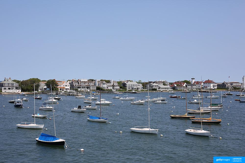 Sail boats moored in Nantucket Harbor, Nantucket Island, Massachusetts, USA. Photo Tim Clayton