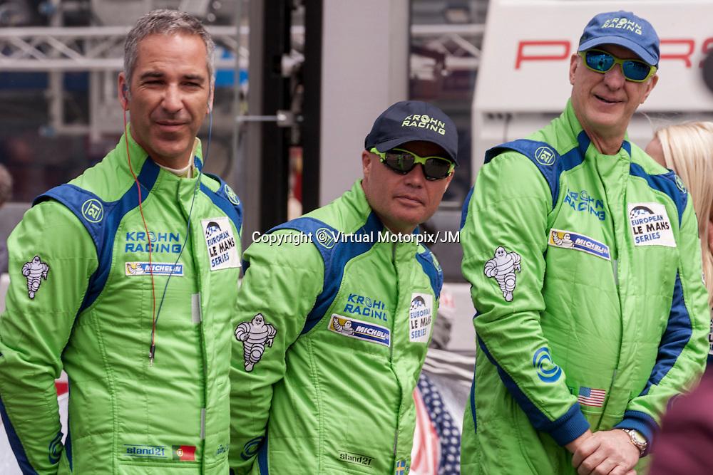 #40, Joao Barbosa, Niclas Jonsson, Tracy Krohn (l-r), Krohn Racing, Le Mans 24H 2015