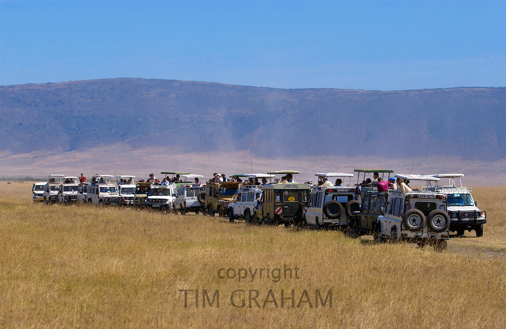 Tourists in the Ngorongoro Crater,Tanzania