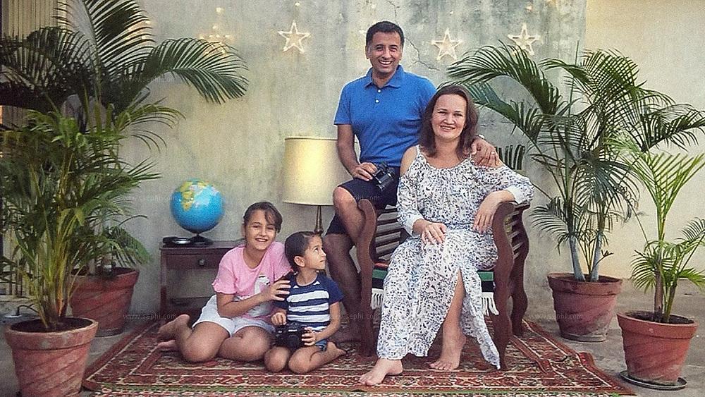 Elena and Sunny Pariani with their daughters Tamana and Danaya. Goa, India.