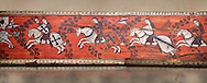 Gothic decorative painted beam panels with gknights on horses, Tempera on wood. National Museum of Catalan Art (MNAC), Barcelona, Spain. Against a art background. .<br /> <br /> If you prefer you can also buy from our ALAMY PHOTO LIBRARY  Collection visit : https://www.alamy.com/portfolio/paul-williams-funkystock/gothic-art-antiquities.html  Type -     MANAC    - into the LOWER SEARCH WITHIN GALLERY box. Refine search by adding background colour, place, museum etc<br /> <br /> Visit our MEDIEVAL GOTHIC ART PHOTO COLLECTIONS for more   photos  to download or buy as prints https://funkystock.photoshelter.com/gallery-collection/Medieval-Gothic-Art-Antiquities-Historic-Sites-Pictures-Images-of/C0000gZ8POl_DCqE