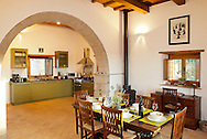 Villa San Donato in Italy, on the border between Tuscany and Lazio. The kitchen/dining room.