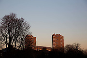 Sunset over the Meath Estate on the 25th February 2019 in Herne Hill in the United Kingdom. A new English record was set on this day with temperatures rising to 20.1C in south-west London. It is the first time a temperature of over 20C has been recorded in England during winter.