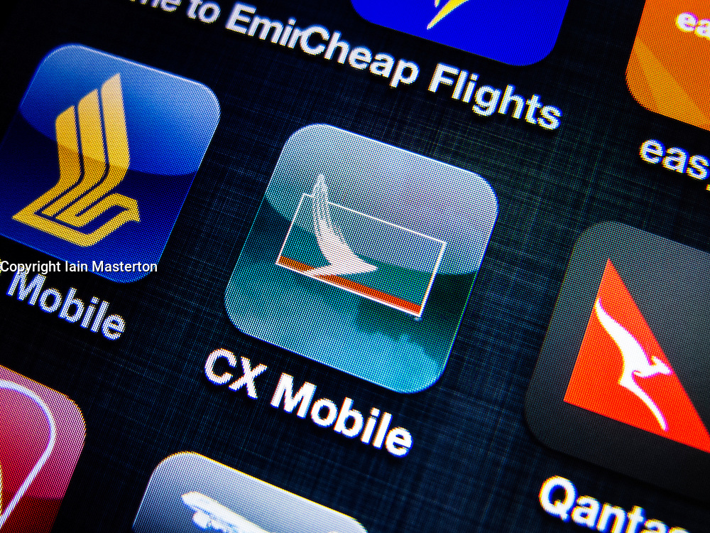 detail of Cathay Pacific  airline app icon on iPhone screen