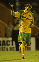 Photo: Aidan Ellis.<br /> Rochdale v Norwich City. Carling Cup. 28/08/2007.<br /> Norwich's Darren Huckerby salutes his penalty