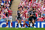 Hull FC right wing Mahe Fonua (2) scores a try and celebrates during the Ladbrokes Challenge Cup Final 2017 match between Hull RFC and Wigan Warriors at Wembley Stadium, London, England on 26 August 2017. Photo by Simon Davies.