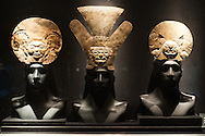 Pre-Inca ritual headdresses on display at Museo Larco