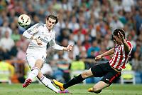 Gareth Bale of Real Madrid and De Marcos of Athletic de Bilbao during La Liga match between Real Madrid and Athletic de Bilbao at Santiago Bernabeu stadium in Madrid, Spain. October 05, 2014. (ALTERPHOTOS/Caro Marin)