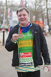 © Licensed to London News Pictures. 21/04/2013. London, England. Picture: Ed Balls MP. Celebrity Runners and Fun Runners finish the Virgin London Marathon 2013 race in the Mall, London. Many wore black ribbons to pay their respect for those who died or were injured in the Boston Marathon. Photo credit: Bettina Strenske/LNP
