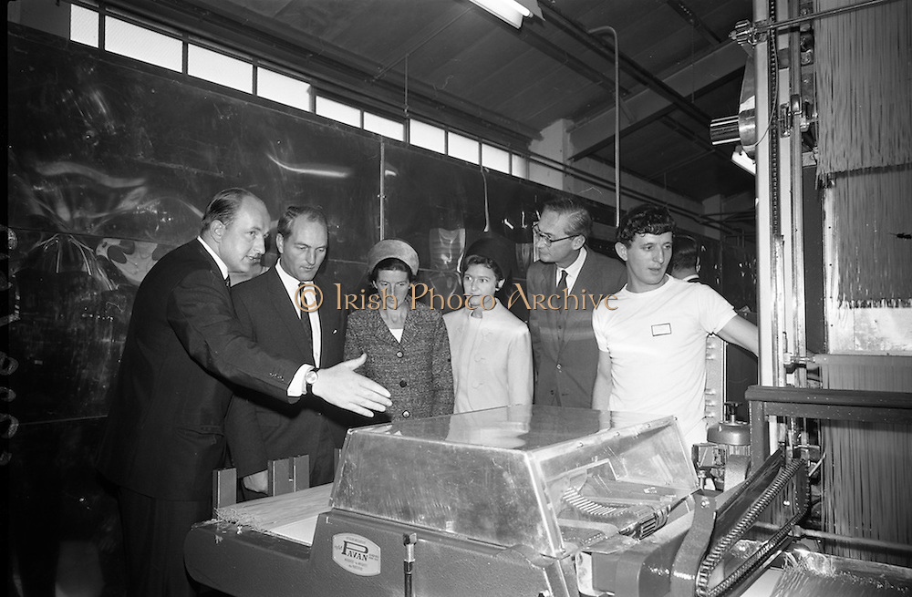 10/10/1966<br /> 10/10/1966<br /> 10 October 1966<br /> Opening of new Roma Foods Products Ltd. factory at Finglas, Dublin. Picture shows  Mr. Patrick Meade, Managing Director (left) showing some of the machinery to Mr. George Colley, Minister for Industry and Commerce; Mrs. Mary Colley; Mrs. Patrick Meade and Baron Vittoro Guicciardi, Italian Ambassador.