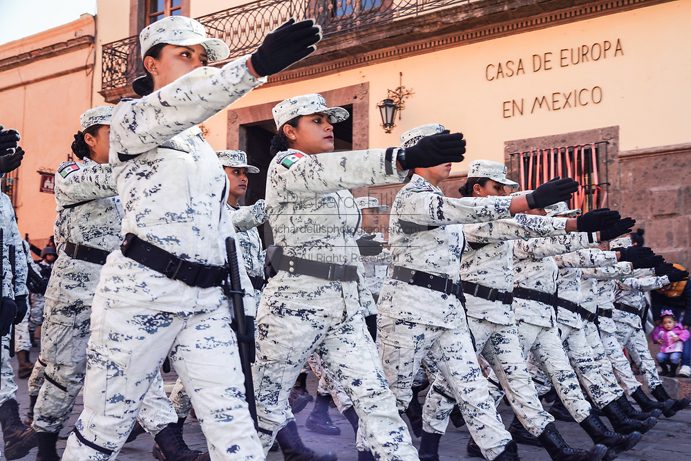 Members of the Mexican National Guard march in a parade to celebrate the 251st birthday of the Mexican Independence hero Ignacio Allende January 21, 2020 in San Miguel de Allende, Guanajuato, Mexico. Allende, from a wealthy family in San Miguel played a major role in the independency war against Spain in 1810 and later honored by his home city by adding his name.